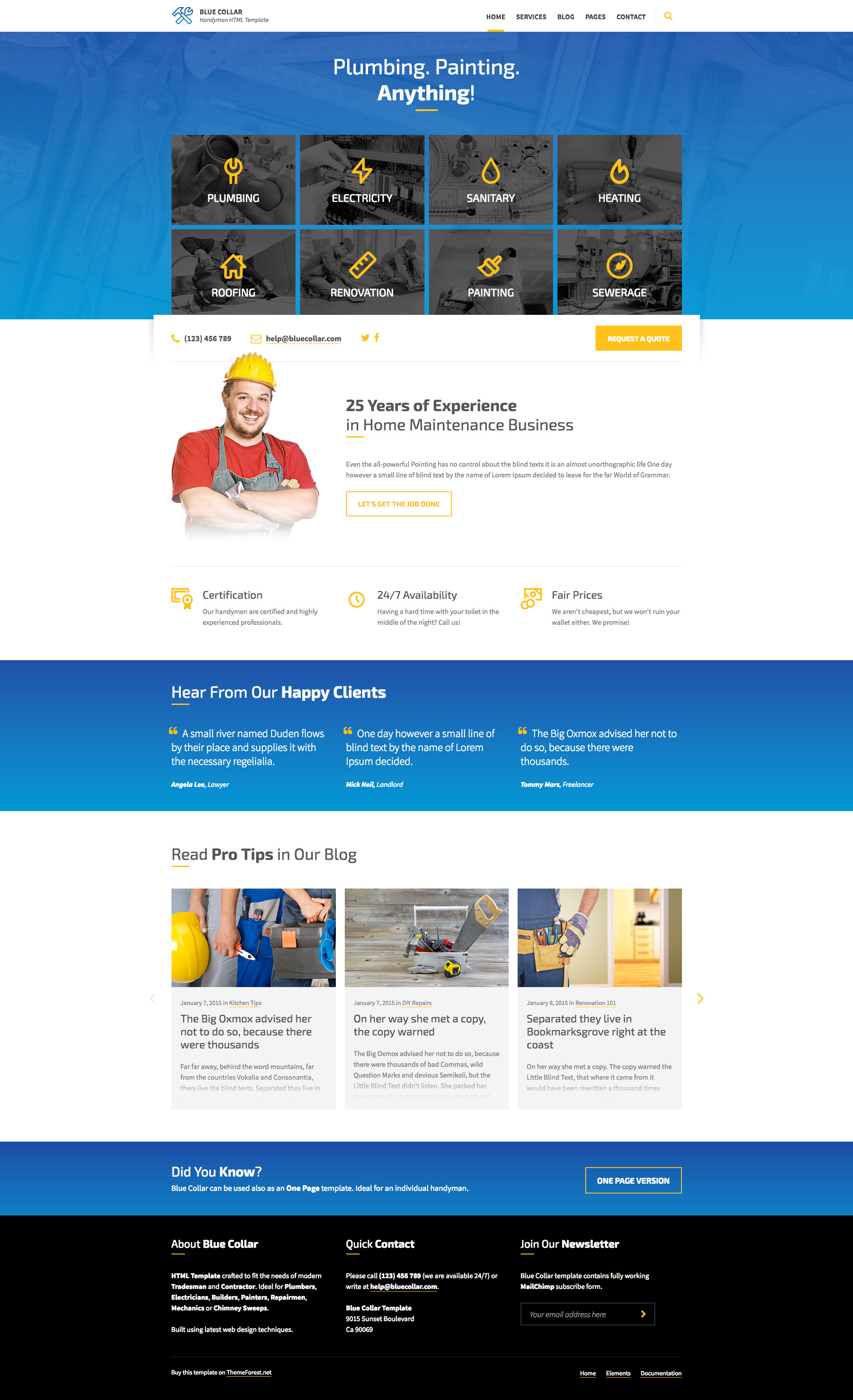 Blue Collar Handyman Html Template