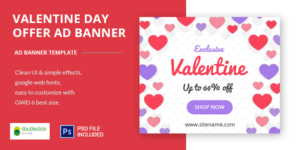Valentine Day Offer - HTML5 Animated Banner 01 - CodeCanyon Item for Sale