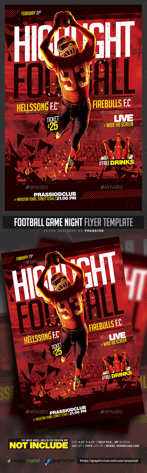 Football Game Night Flyer Template - Sports Events