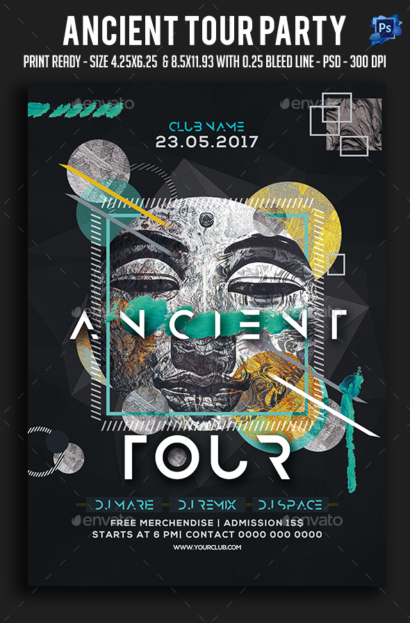 Ancient Tour Party Flyer - Clubs & Parties Events