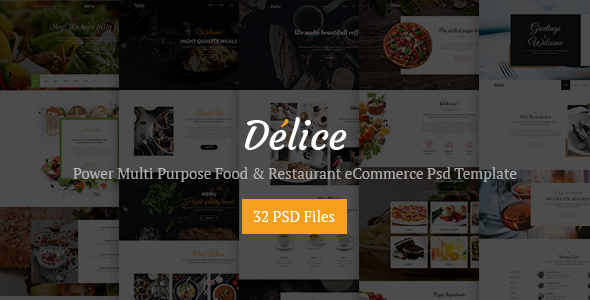 Delice – Power Multi Purpose Food & Restaurant Psd eCommerce Template