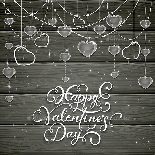 Black Wooden Background with Valentines Hearts and Beads - Christmas Seasons/Holidays