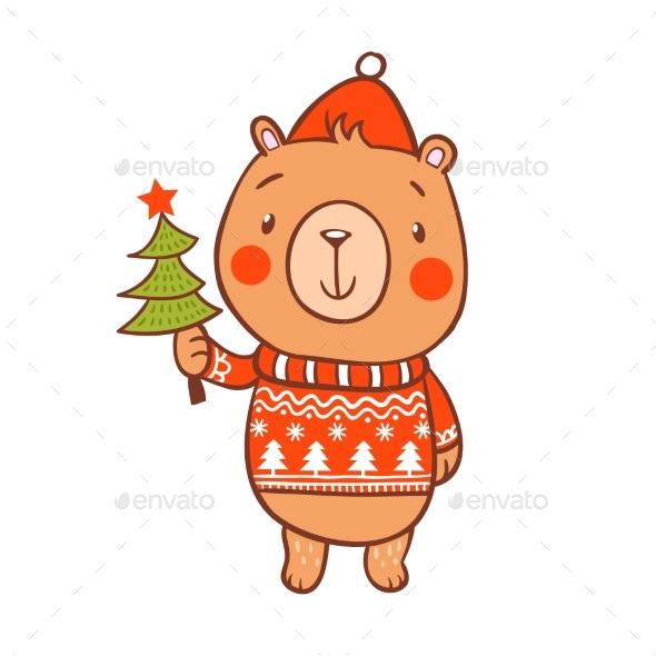 Christmas Card with Bear in Sweater - Christmas Seasons/Holidays