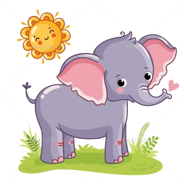 Elephant Stands on the Sunny Meadow - Animals Characters