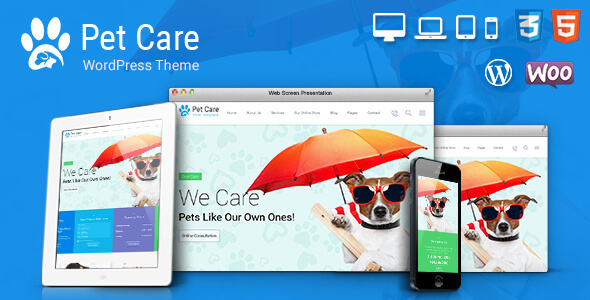 Pet Care, Pet Shop, Vet WordPress Theme