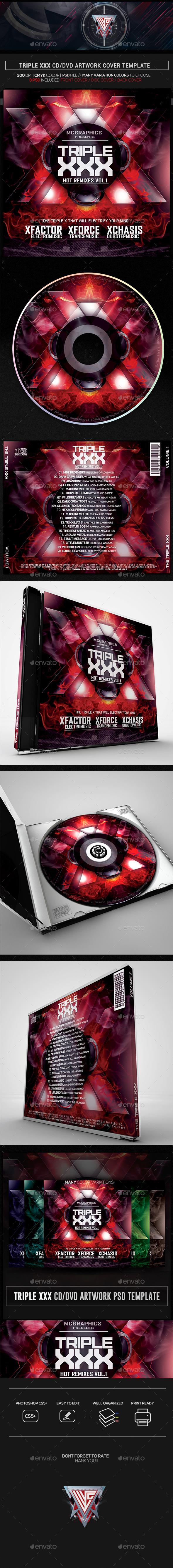 Triple XXX CD/DVD Template - CD & DVD Artwork Print Templates