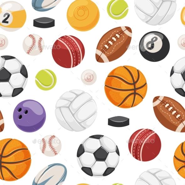 Sport Balls Seamless Pattern Vector. - Backgrounds Decorative