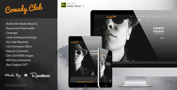 Comedy Club - Entertainment Club Muse Template