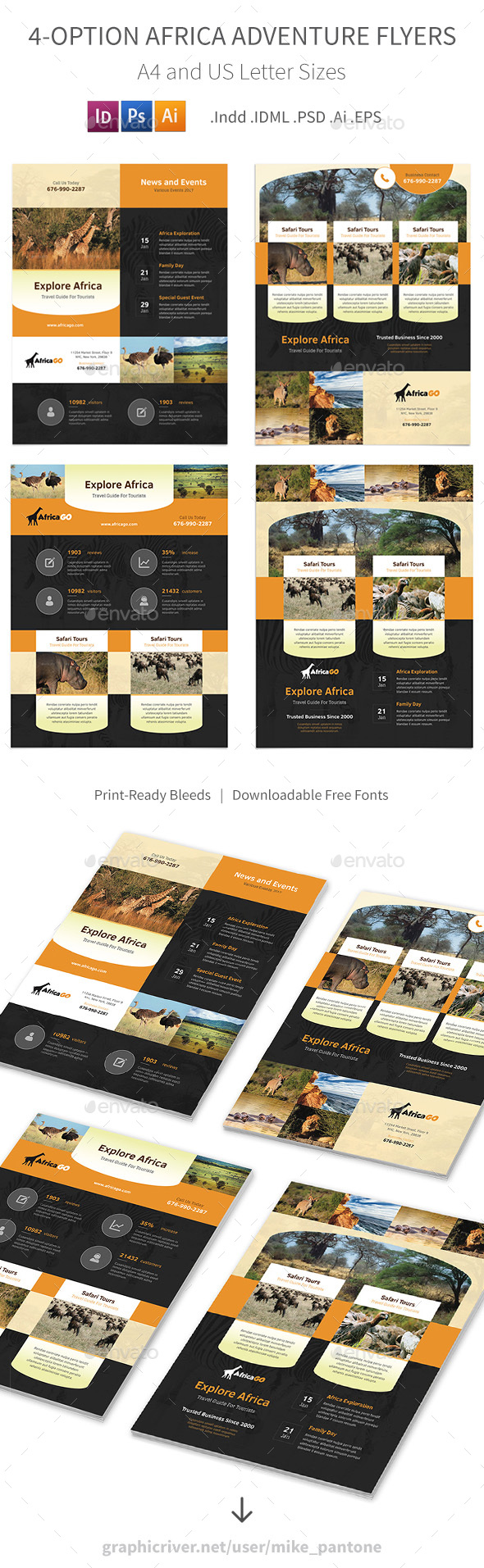 Africa Adventure Flyers – 4 Options - Corporate Flyers