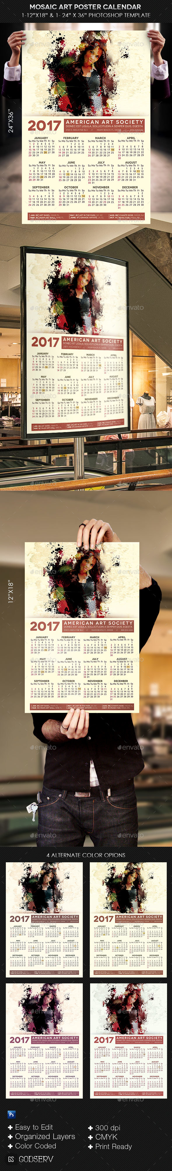 Mosaic Art Poster Calendar Template - Calendars Stationery