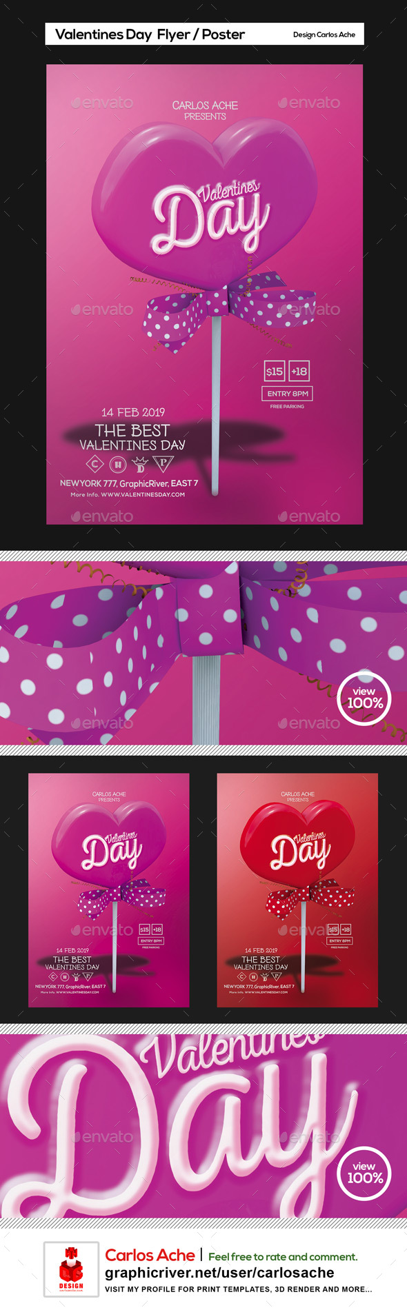 Valentines Day Flyer and Poster Template - Holidays Events