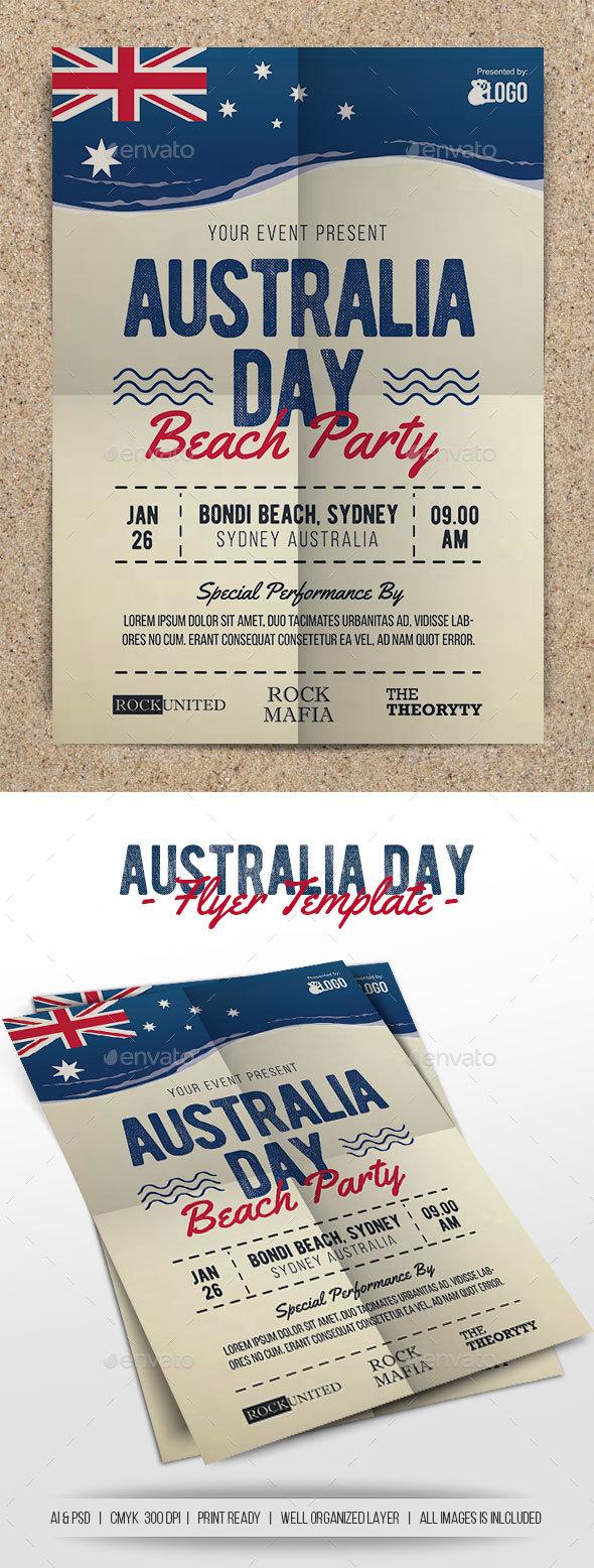 Australia Day Beach Party - Flyers Print Templates