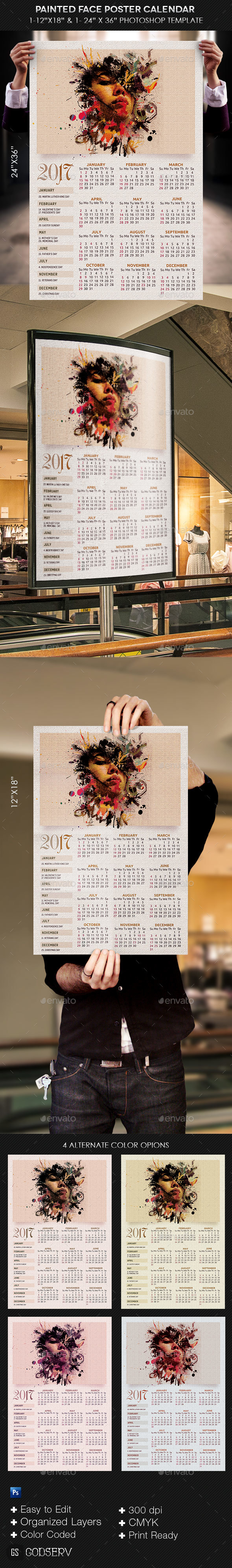 Painted Face Poster Calendar Template - Calendars Stationery