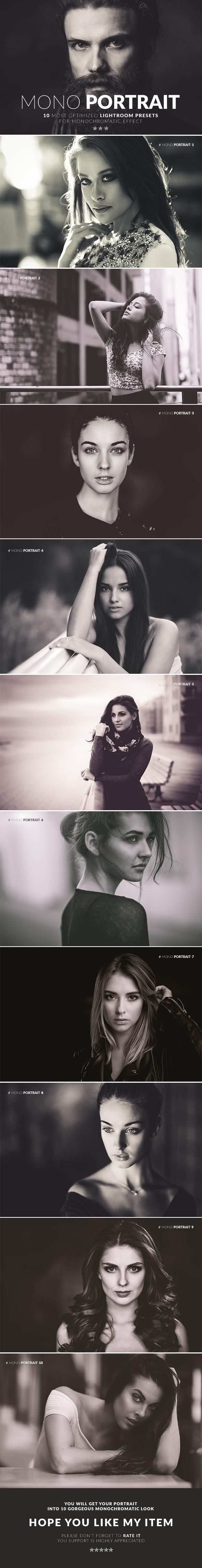 Mono Portrait Lightroom Presets - Lightroom Presets Add-ons