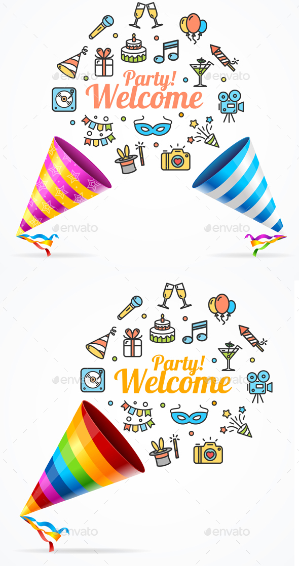 Party Banner Card and Icon Thin Line Set. Vector - Seasons/Holidays Conceptual