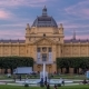 Day To Night  View of Art Pavilion at King Tomislav Square in Zagreb, Croatia. - VideoHive Item for Sale