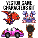 Vector Game Characters Sprites Bundle - Cartoon, Flying and Cars - GraphicRiver Item for Sale