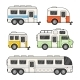Caravan Camping Trailer Set on White Background - GraphicRiver Item for Sale