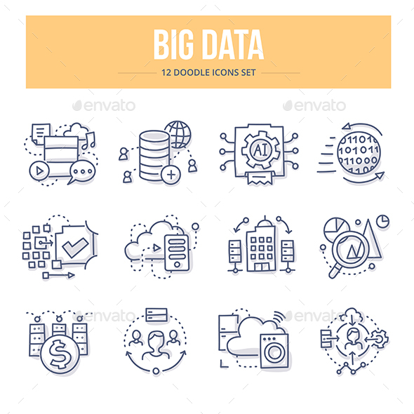 Big Data Doodle Icons - Technology Icons