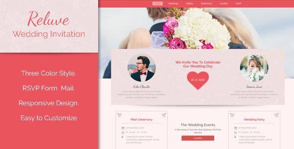 Reluve - Responsive Wedding Landing Page