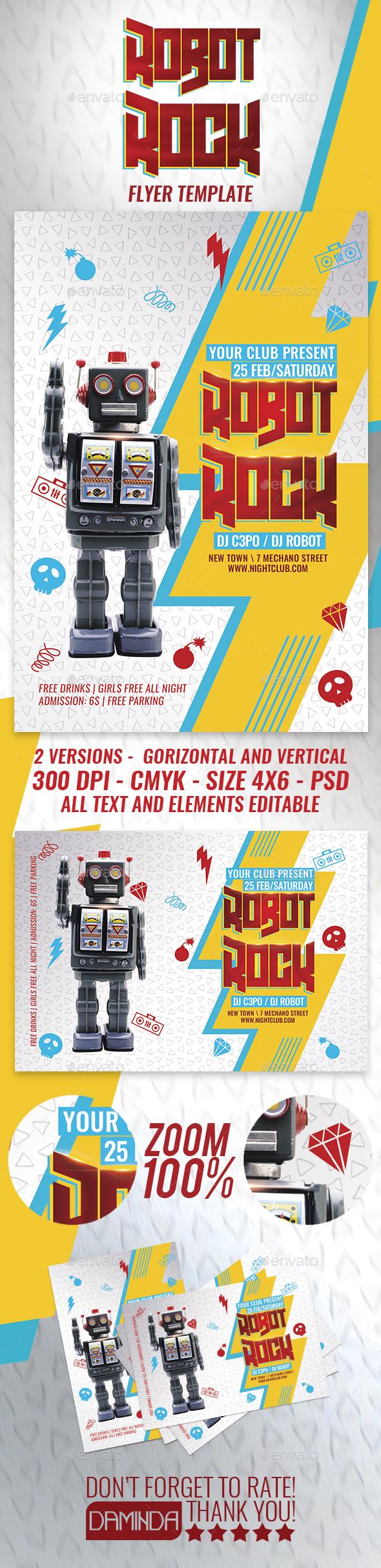 Robot Rock Flyer Template - Clubs & Parties Events