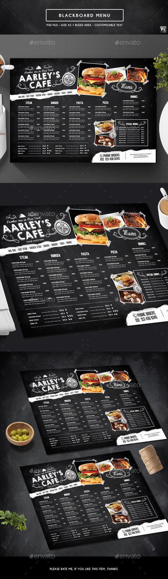 Blackboard Menu - Food Menus Print Templates