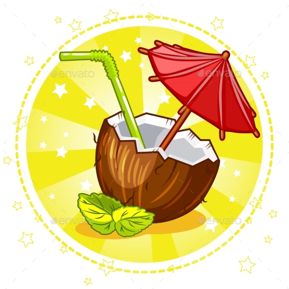 Exotic Coconut Cocktail - Miscellaneous Vectors