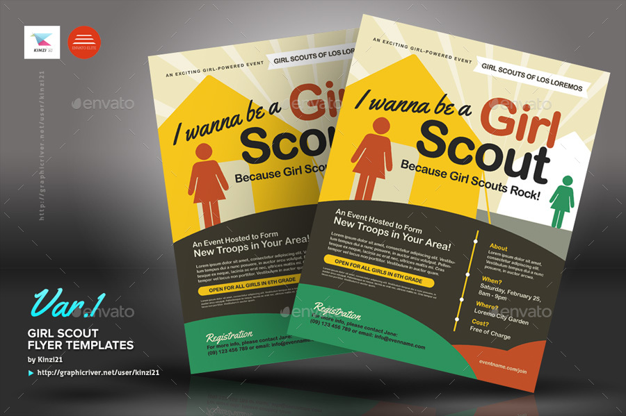 girl scout flyer templates by kinzi21