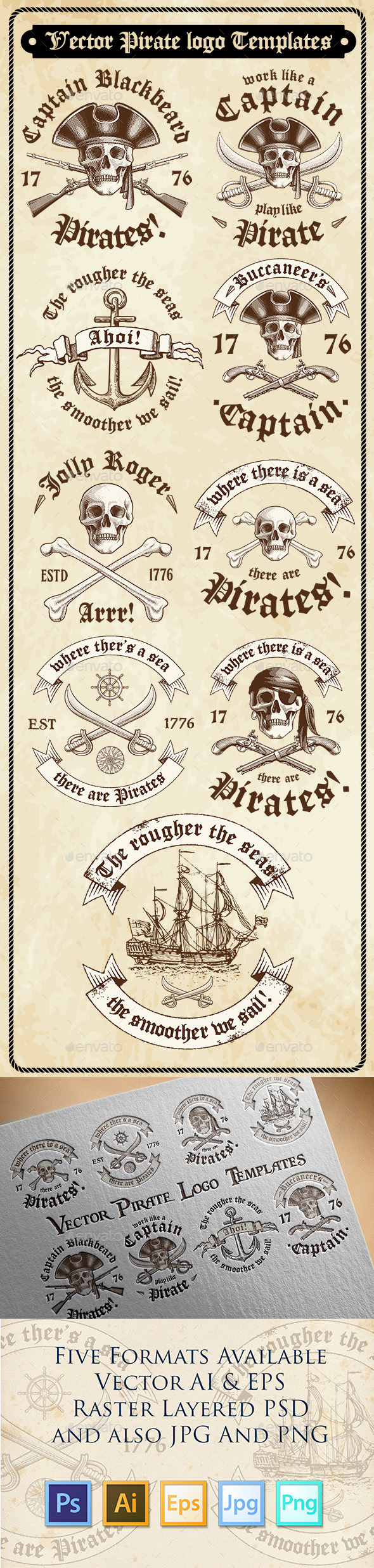 Vector Pirate Logo Templates - Decorative Symbols Decorative