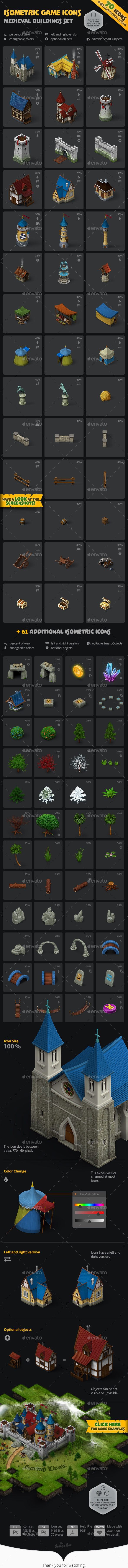 Isometric Game Icons - Medieval Buildings Set - Game Kits Game Assets