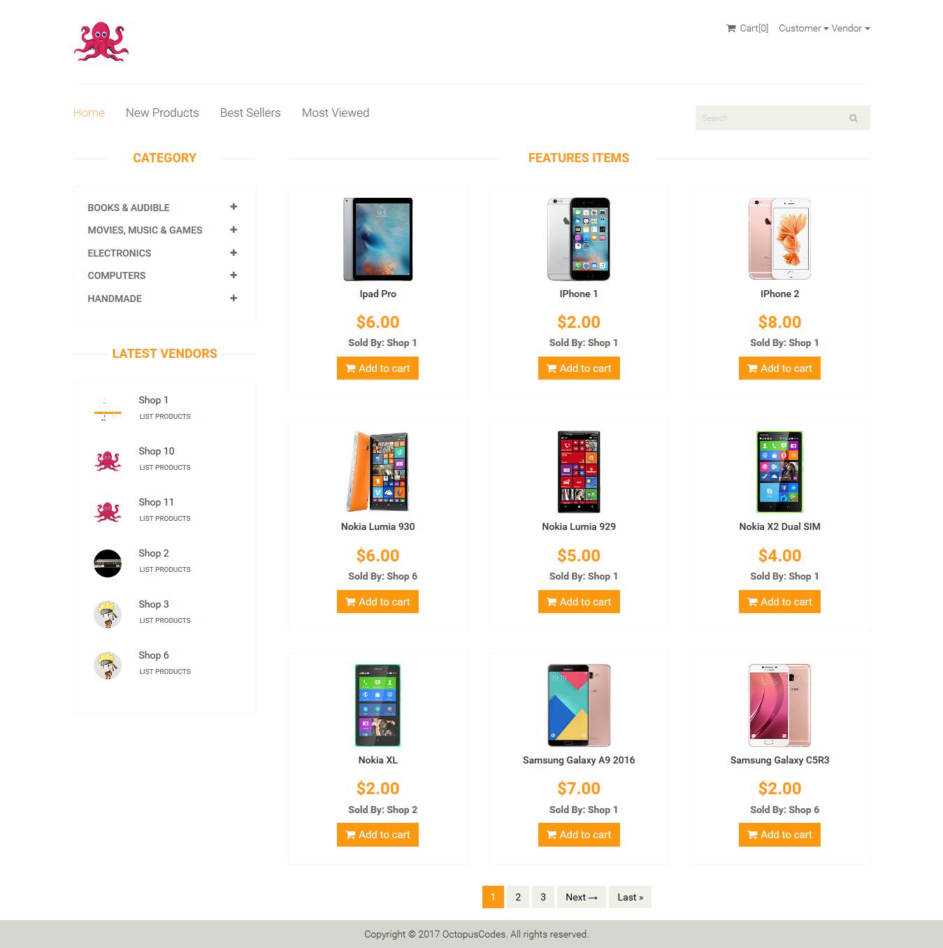 OctopusCodes - Ecommerce Multi-Vendor Shopping Cart