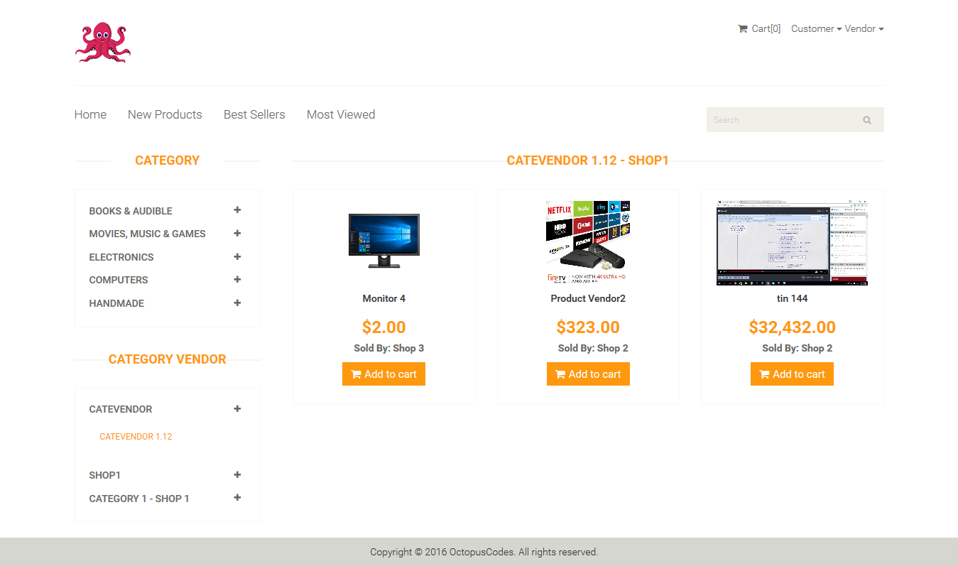 OctopusCodes - Ecommerce Multi-Vendor Shopping Cart