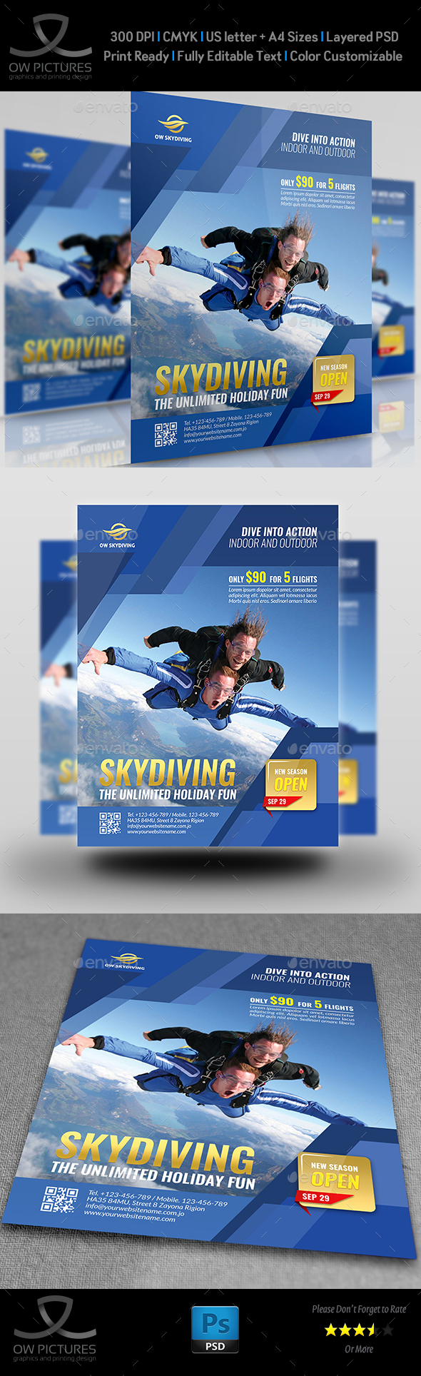 Skydiving Flyer Template - Flyers Print Templates