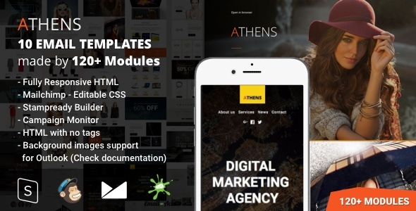 Athens – 10 Responsive Email Templates (120+ Modules) with Mailchimp Editor & StampReady Builder