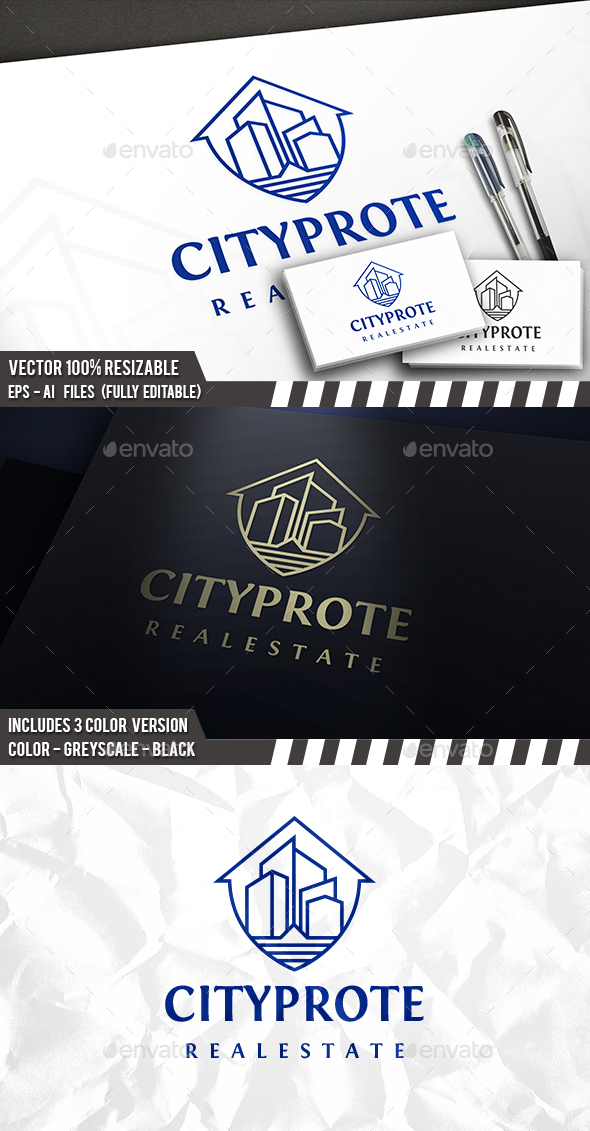 City Line Shield Logo - Buildings Logo Templates