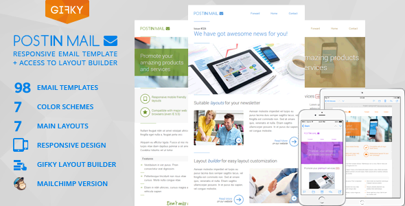Image of Postin Mail - Responsive Email Template + Access to Gifky Layout Builder