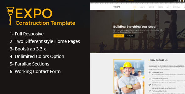 Expo Construction HTML Template for Plumber, Electrician, Mechanic, and Carpenter