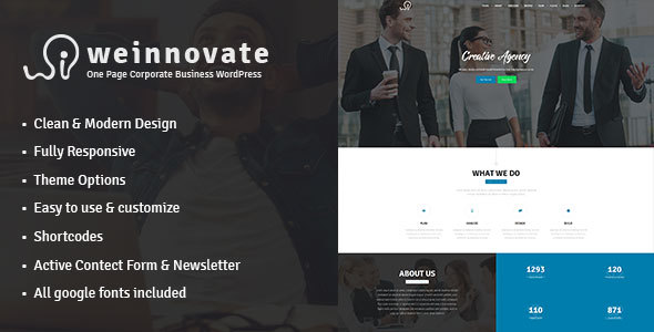 Weinnovate – One Page Corporate Business WordPress
