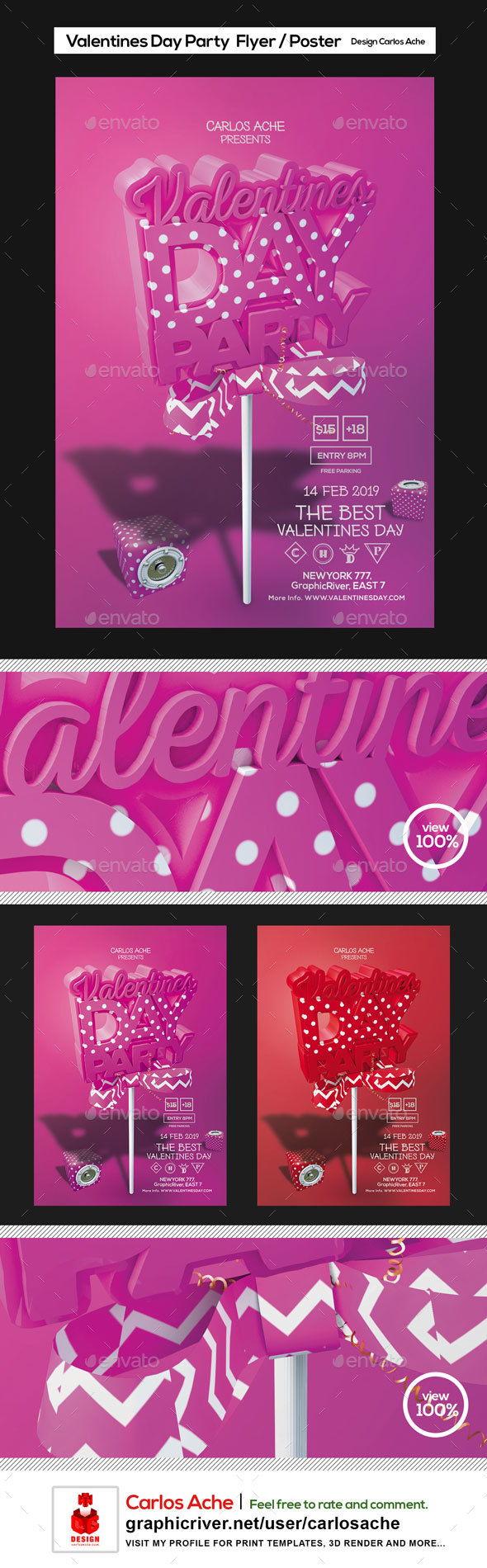 Valentines Day Party Flyer and Poster Template - Holidays Events