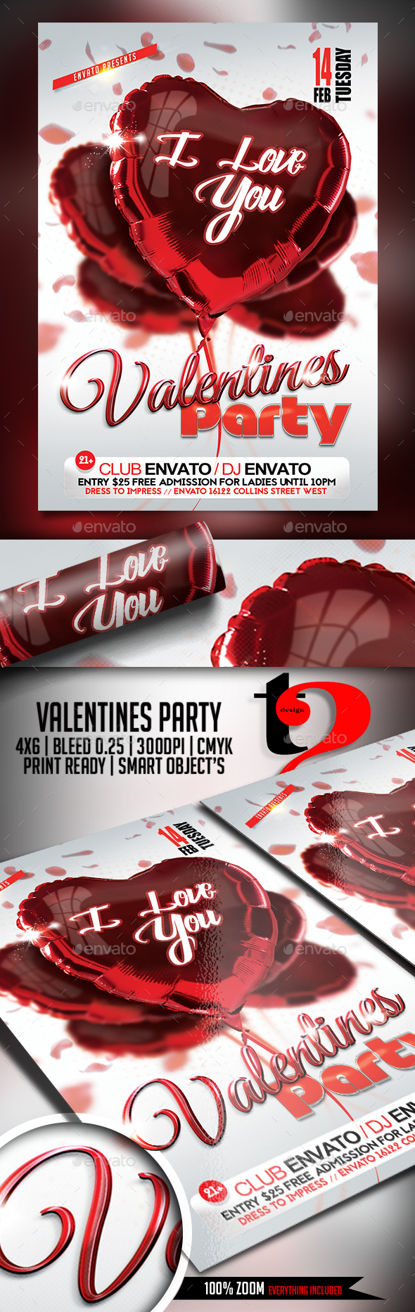 Valentines Party Flyer - Template - Clubs & Parties Events