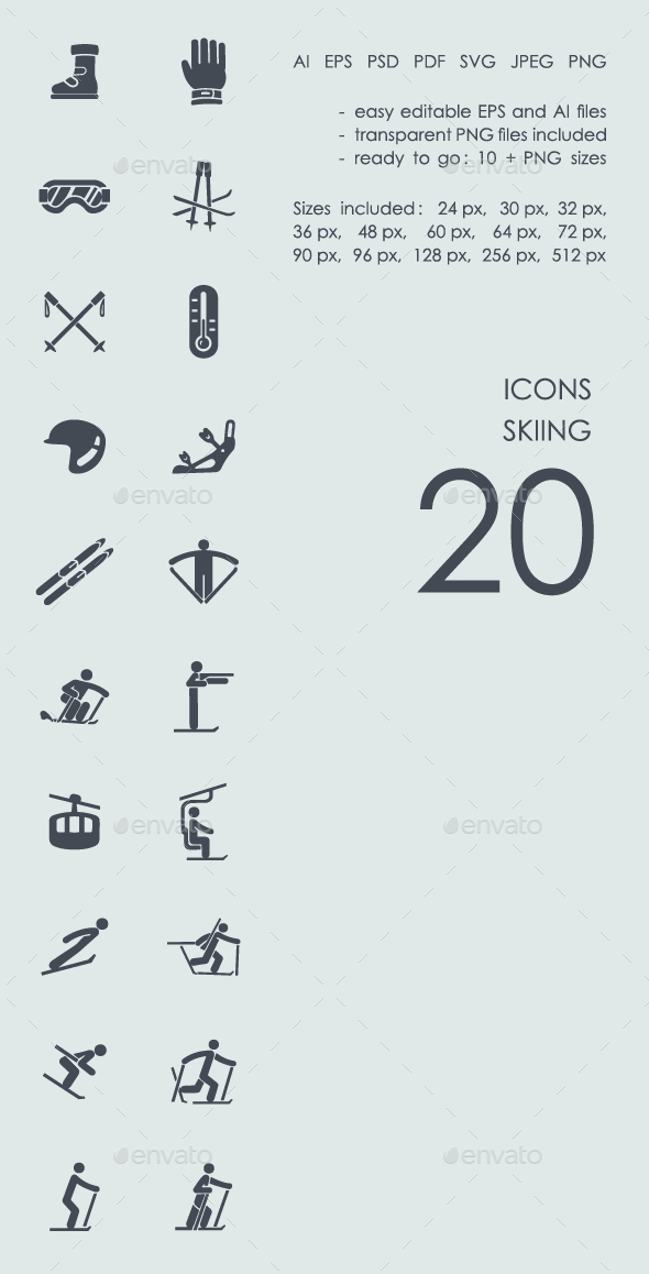 Skiing Icons - People Characters