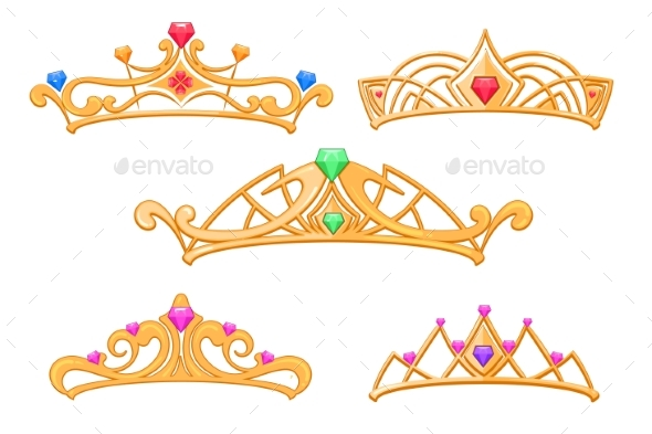 Princess Crowns, Tiaras with Gems Cartoon - Man-made Objects Objects