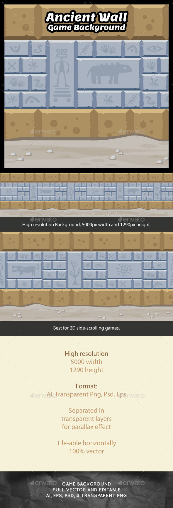 Ancient Wall Game Background - Backgrounds Game Assets