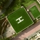 AERIAL: Square Helicopter Parking Spot. Camera Zooming in.Helicopter Parking on Roof - VideoHive Item for Sale
