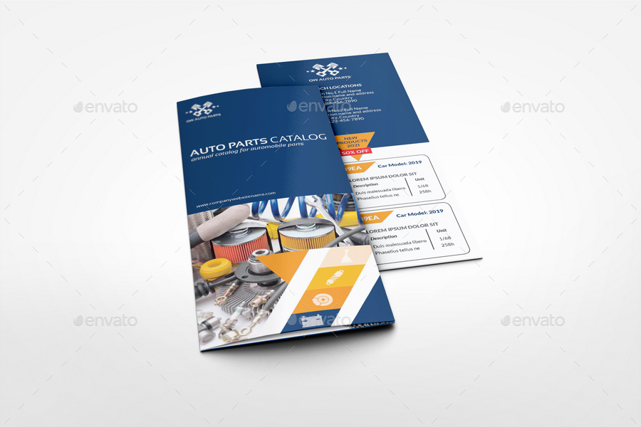 Auto parts catalog tri fold brochure template vol 2 by for Car brochure template