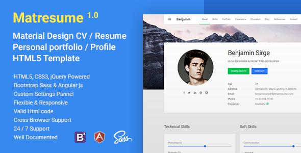 Matresume – Material CV / Resume / vCard / Portfolio Html Template