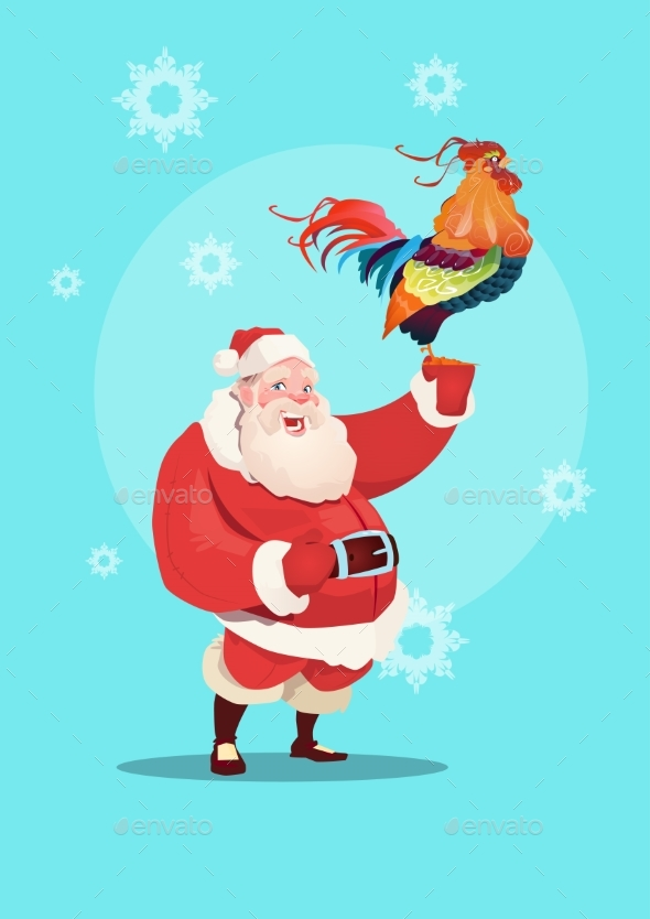 Happy New 2017 Year Rooster with Santa Clause - Christmas Seasons/Holidays