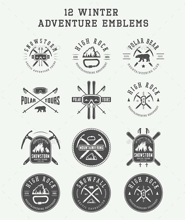 12 Winter Adventure Emblems - Badges & Stickers Web Elements