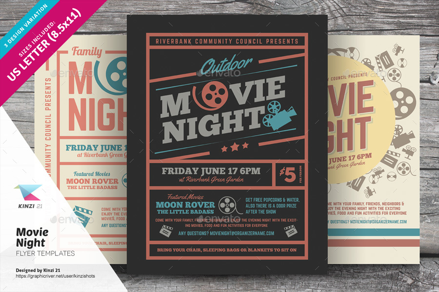 Movie Night Flyer Templates By Kinzishots  Graphicriver