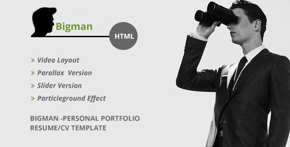 Bigman- Personal Portfolio Resume/CV HTML Template